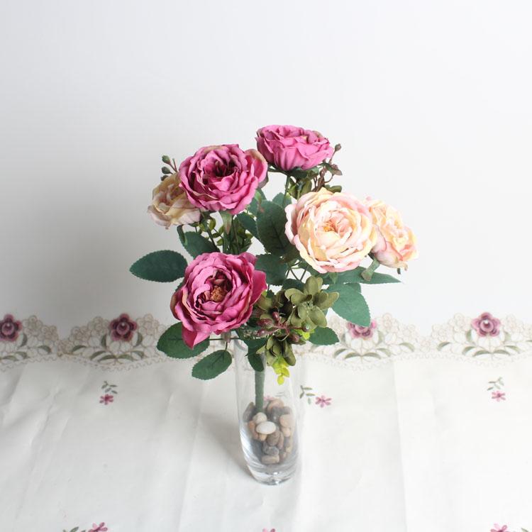 仿真把花—9头茶玫瑰